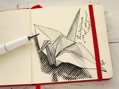 🙏 Hiroshima 6th of Aug 1945 japan atomic bomb lamy safary fountain pen sketchbook illustration woodcut gravure ink drawing paper crane origami hiroshima