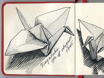 🙏 Nagasaki 9th of Aug 1945 sketch woodcut sketchbook paper crane lamy safari japan ink drawing origami illustration nagasaki gravure fountain pen atomic bomb