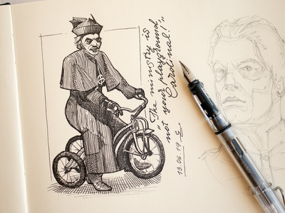 random Ghost sketches cycling ghost woodcut sketchbook illustration ink gravure crosshatching fountain pen lamy vista inkdrawing sketch