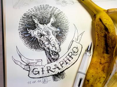 Girafro sketchbook tattoo concept art characterdesign sketching sketch fun haircut afro giraffe lamy fountain pen drawing ink