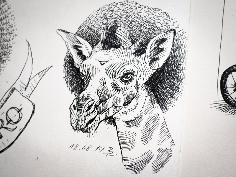 Girafro 2 hatching illustration sketchbook sketching linocut gravure graphic woodcut crosshatching drawing ink africa afro giraffe drawing fountain pen