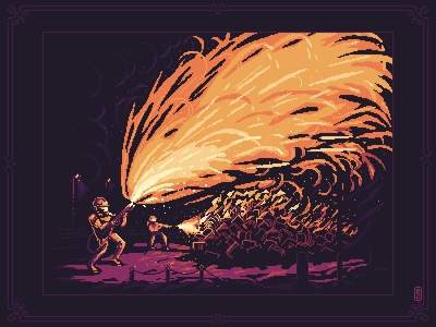 Fahrenheit 451 flame fire burning sprite pakopixel aseprite flamethrower illustration gameart 16bit gamedev pixels pixel art pixelart