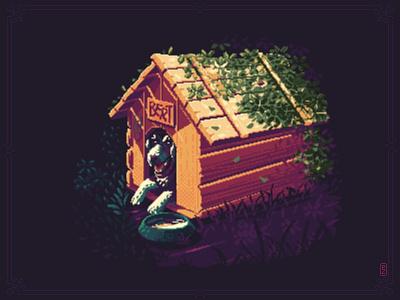 Doghouse hound illustration 16bit 8bit sprite retroart gameart gamedev aseprite pixels pixelart pixel art dog doghouse