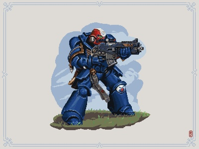 Tell it to the Ultramarines illustration aseprite sprite pixels concept art characterdesign pixelart warhammer 40k space marine