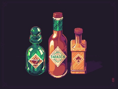 Spicerack 🌶️ [pixel art] game assets bottle tabasco spice gameartist gameart illustration 16bit 8bit pixels pixel art pixelart spicy sauce