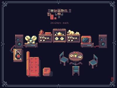set of retro furniture 24x24px each element [pixel art] pixels conceptart pakowacz pakopixel redesign interior retro furniture illustrations aseprite sprite gameart gamedev game assets pixel art pixelart