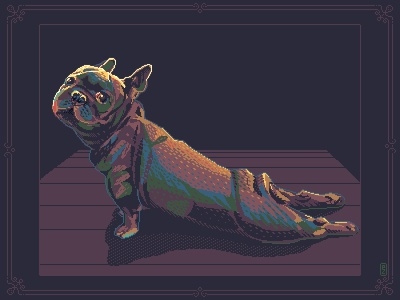streeeetch [pixel art] pakopixel 16bit 8bit game artist gameart sprite aseprite pixel art pixelart pixels dog illustration fun yoga french hound bulldog dog streth