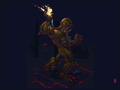 Imp from Doom by IdSoftware [pixel art] hell on earth hell on earth fireball pakopixel pixel art pixelart pixels pixeldailies monster illustration gameart gamedev aseprite sprite idsoftware doom imp