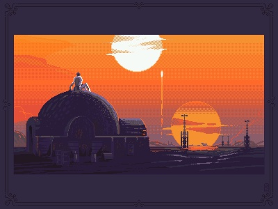 hopes in a galaxy far far away [pixel art] luke skywalker luke sprite pixel dailies aseprite concept art game artist gamedesign gameart 16bit 8bitart pixels pixel art pixelart tatooine illustration fanart star wars