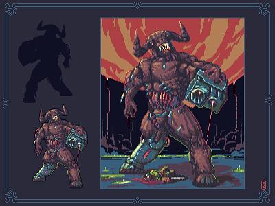Cyberdemon [pixel art] 8bit pixel artist pixel art pixelart pixels aseprite sprite illustration game artist game art character design idsoftware doom cyberdemon