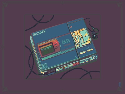 Sony MD walkman [pixel art] pakopixel game assets 16bit 8bit illustration pixel dailies sprite aseprite pixels pixelart pixel art gadget music personal stereo sony walkman minidisc