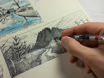 warming up crosshatching concept art fountain pen sketchbook ink drawing ink pen and ink sketch