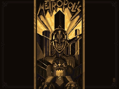 pixel tribute to Metropolis [pixel art] robot cyborg cinema movie poster illustration aseprite pixel art pixel pixelart retro metropolis