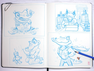 some rejected sketches for about section comic art graphics drawing graphic illustration sketch pencil drawing aligator crocodile cute adorable characterdesign superhero hero character cartoon