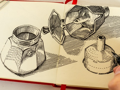 quick drawing from live morning sketch graphic woodcut gravure illustration fountain pen lamy crosshatching etching drawing inking ink espresso coffee moka pot bialetti