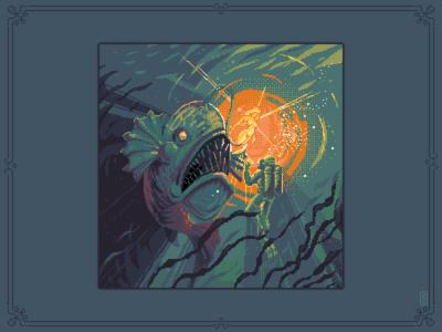 decoy [pixel art] girl aseprite design graphic monster deep sea game art 8bit illustration pixel art pixel underwater scuba decoy diver fish abbyss deep