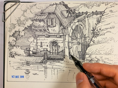 water mill game art house lamy pen drawing traditional art drawing inking ink concept art landscape illustration fountain pen crosshatch water mill