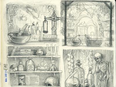 fantasy pharmacy illustration potion sketch pencil sketch fantasy alchemy interrior environmental design pencil drawing conceptart game art concept art