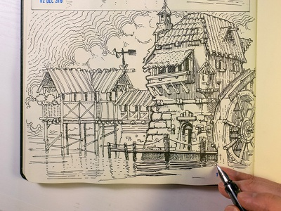 Water mill ink sketch graphic  design logo wine inking woodcut gravure crosshatching etching packaging editorial landscape mill water mill game drawingart concept illustration sketch drawing ink