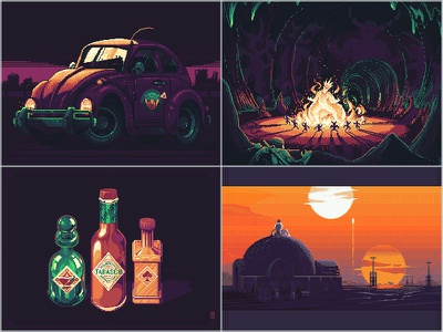 my best 4 of 2019 [pixel art] 90s 80s retro vintage pakopixel star wars game assets illustration retro gaming 16bit 8bit aseprite sprite game art pixels pixel art pixelart