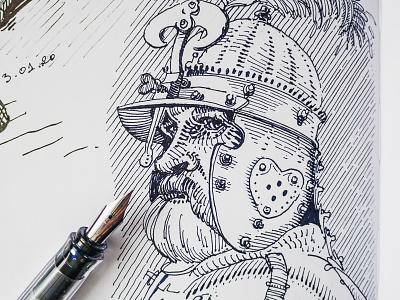 Polish hussar concept art character design draft pen and ink ink illustrations drawing cross hatching sketching hatching fountain pen sketch husaria polska