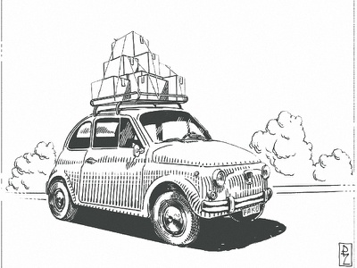 Classic Fiat 500 pen and ink black and white vintage retro old graphic design crosshatching fiat 500 car illustration magazine packaging editorial woodcut gravure etching