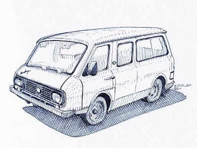 "RAF ""Latvia"" minibus linework gravure engraving ink drawing concept art drawing packaging illustration book illustration magazine illustration editorial crosshatching hatching etching sketching ink sketch minibus"