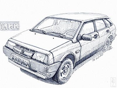 LADA Samara 2109 samara cross hatching technical drawing magazine illustration book illustration editorial illustration sketch etching hatching vintage retro soviet car car