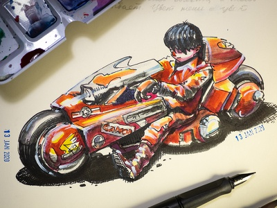 Kaneda on his iconic bike watercolor sketch manga kaneda aquarelle kotsuhiro otomo lamy illustration sketchbook sketch ink drawing anime bike biker akira watercolor