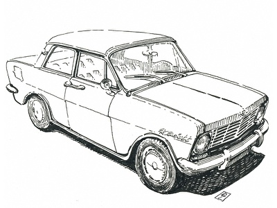 Opel Kadett lineart linework pen and ink ink drawing magazine illustration concept art graphic woodcut engraving etching cross hatching hatching opel kadett opel car book illustration editorial illustration