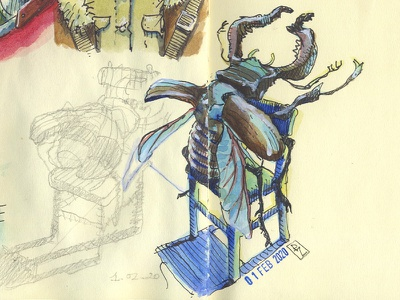 quick watercolor and ink sketch before pixel art drafts sketchbook sketching editorial illustration book illustration character insect bug deer beetle watercolor ink and watercolor ink and pen illustration