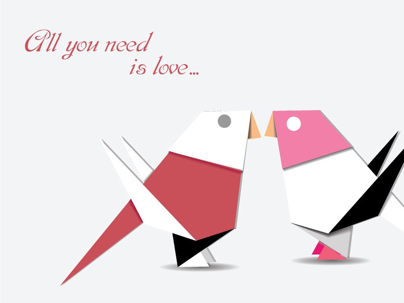 All you need is love... love bird origami