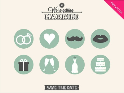 FREE Wedding Icons  free wedding icons heart rings diamond ring gift champagne cake dress mustache lips