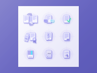 Nine custom icons custom design icons set documents icons