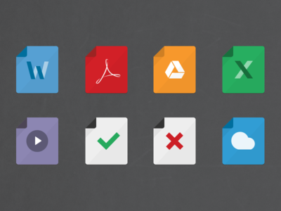 Set of 8 documents icons xls drive gdrive icon paper icon sheet icon spreadsheet icon