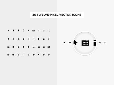36 Twelve-Pixel Vector Icons 36 twelve-pixel vector icons pixel 12px icons vector icon design london ui design pixel-perfect