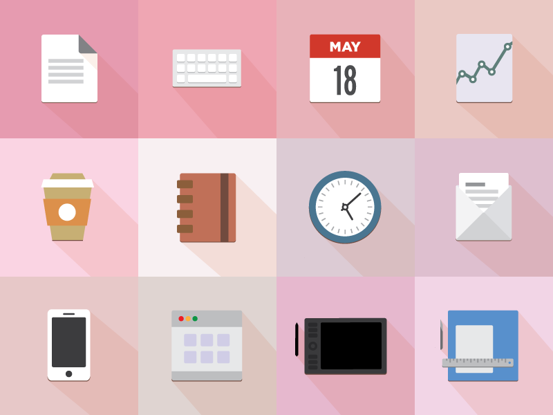 A set of 12 icons office