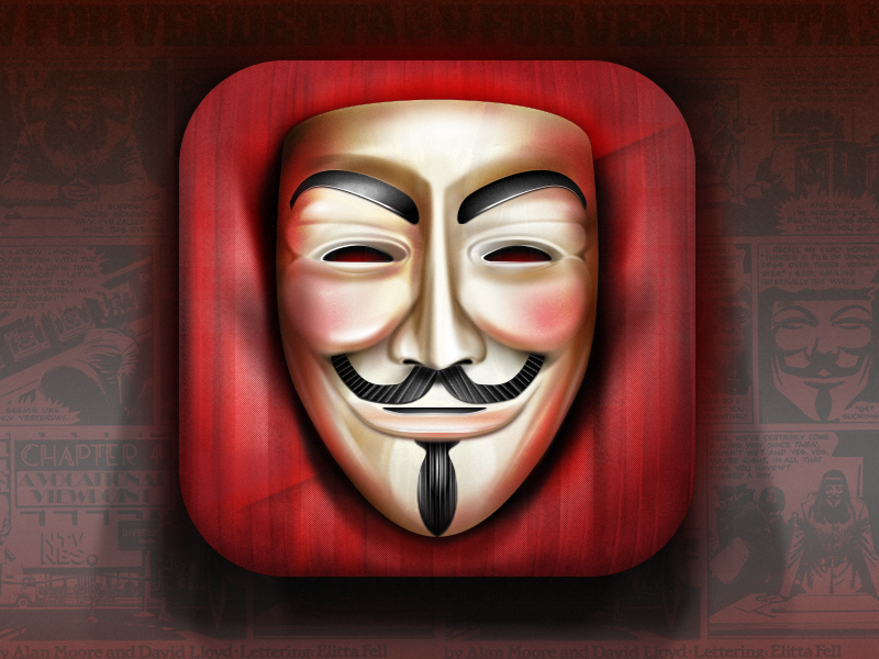 Guy Fawkes mask vector illustration fireworks vendetta icon design anonymous smile red carpet details pixel perfect skeumorphism cushion obey