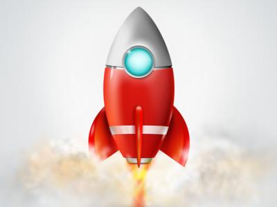 Rocket Icon Design rocket icon design icon design vector illustrator fireworks 3d red fire effect smoke skeuomorphic