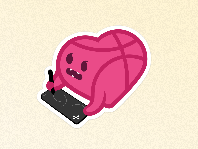 I ♥️ Dribbble! cocorino sticker design pink heart icons icon designers dribbblers stickermule love dribbble