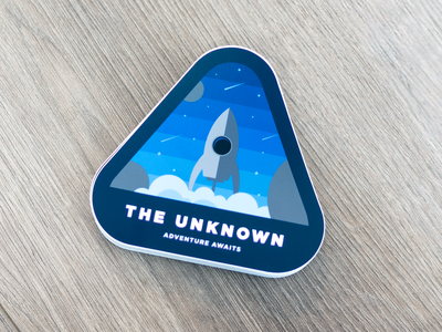 The Unknown - Space Sticker shooting stars rocket design spaceship cocorino stikcers space decal typography branding stickers stickermule icons illustration illustrator logo design design character design icon designer cocorino icon design space stickers the unknown