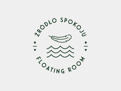 Źródło Spokoju - Floating Room typography seal meditation symbol sign feather wave badge crest wellness floating logo