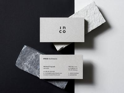Inco Architects Business Cards concrete busines card architect stationery print identity symbol branding logo