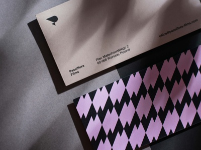 Passiflora Films Branding: envelope and compliment slip mark brand triangle pattern stationery minimal print symbol identity branding logo