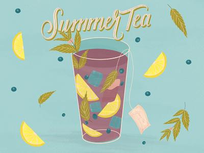 Summer Tea Illustration vintage illustration photoshop brush photoshop design procreateapp procreate illustration digital illustration
