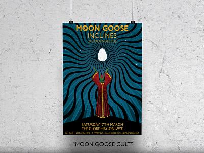 Moon Goose Cult Art Print psychedelic lizard egg poster design print poster