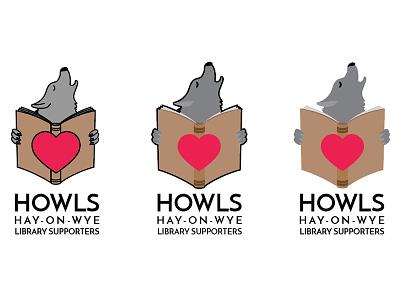 Howls logo V1 hay-on-wye library book wolf howl logo