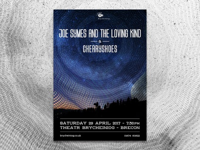Gig Poster for Cherryshoes & Joe Symes spiral sky night cherryshoes joe symes gig poster poster gig