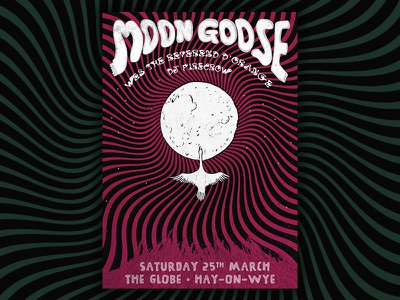 Moon Goose @ Globe Gig Poster feather lines goose moon gig poster poster gig