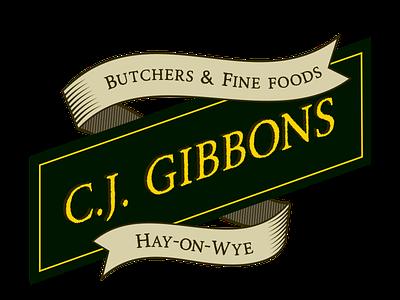 CJ Gibbons Butchers Logo identity branding identity hay-on-wye butchers logo